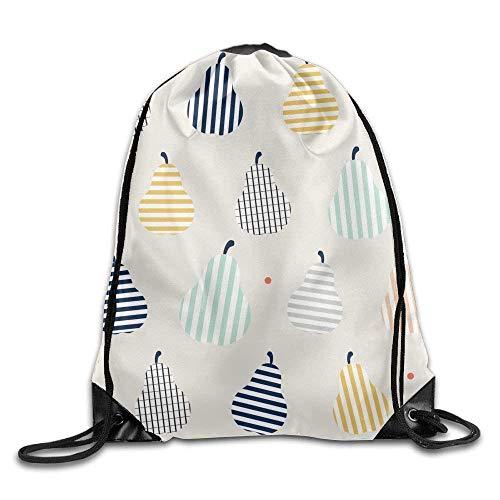 Niomhdos Drawstring Bag Gym Bag Travel Backpack Pears Fruit Lines Plaid Canvas Drawstring Backpack for Women Men Adults ()