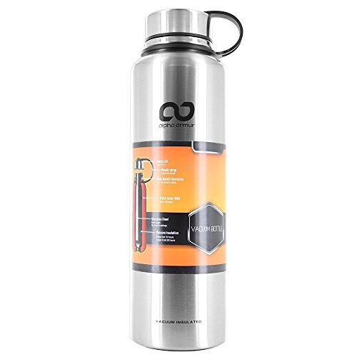 Alpha Armur 50 Oz (1.5L) Infused Water Tea Bottle Double Wall Vacuum Insulated Stainless Steel Water Bottle with Wide Mouth 50 Oz Water Bottle, Silver