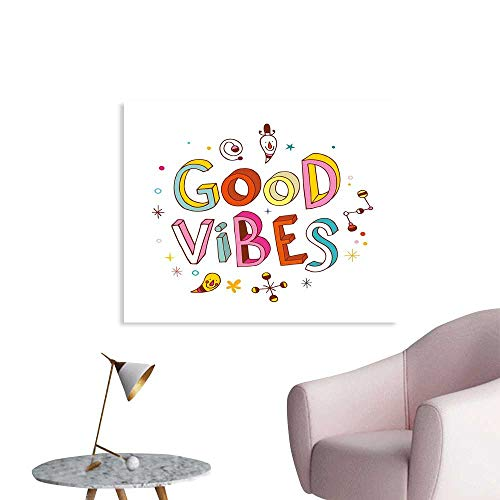 J Chief Sky Good Vibes Decals Colorful Cheerful Fun Typography with Cartoon Style Kids Toddler Elements Print Wall Stickers for Kids W28 xL20