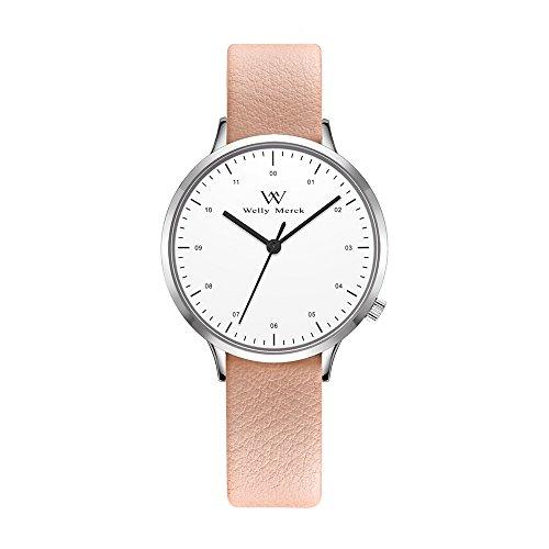 (Welly Merck Swiss Movement Womens Dress Watch 30MM Swiss Quartz Movement with 14mm Interchangeable Leather Band,5ATM Waterproof (Pink1))