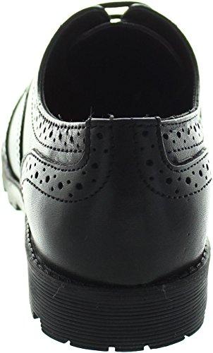 Buckle My Shoe  Chunky Leather Brogu, Chaussures de ville à lacets pour fille noir noir