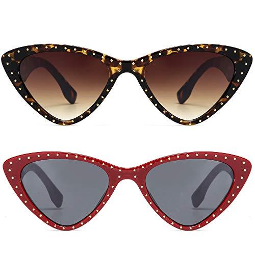Cat Eye Sharp Corner Rhinestone Vintage Sunglasses for Women ()