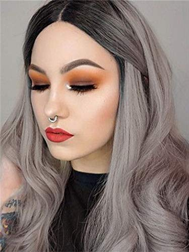Imstyle Ombre Gray 2 Tone Synthetic Wigs Dark Roots Long Straight Heat Resistant Hair Replacement Wigs for Women 22 inch+2 pcs Wig Cap (Ombre Gray)