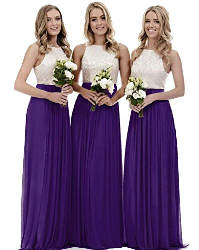 (Lace Bridesmaid Dresses Long a-line Chiffon Evening Gown Wedding Party Womens 2019 Purple 20)