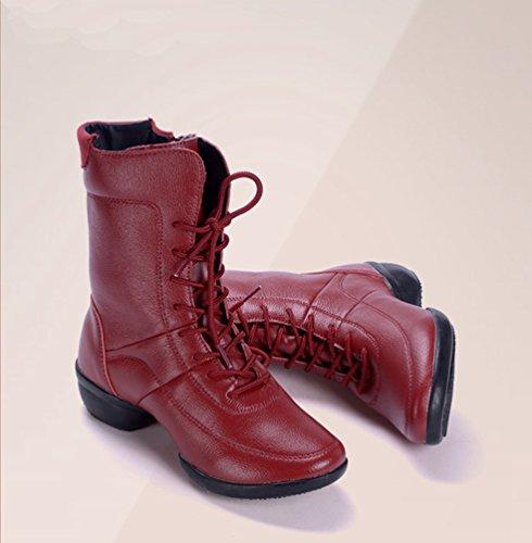 YouPue Damen PU Leder Tanzschuhe Freizeit Tanzsneaker Gummiabsatz Lace-up Dance Stiefel Solide Farbe Rot