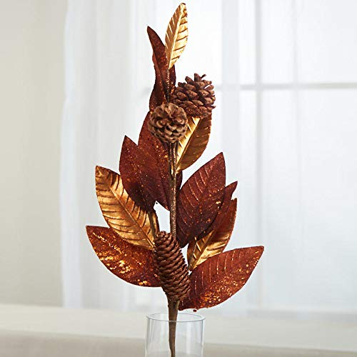 Factory Direct Craft Copper Glittered Leaf and Pinecone Spray (Glittered Pine Spray)