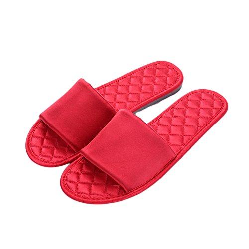 D'é Femmes Pantoufles Rouge Antidérapant Couleur Satin ZongsenC Maison é Respirant Chaussons Unie Intérieur T5wq1nw