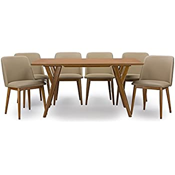 Baxton Studio 7 Piece Lavin Mid Century Dining Set, Dark Walnut