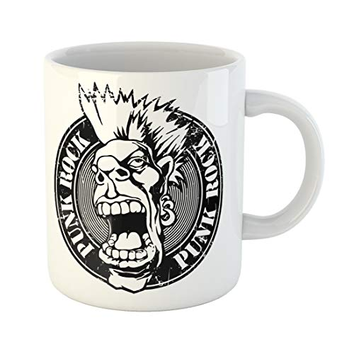 Semtomn Funny Coffee Mug Black Rubber Stamp Words Punk Rock Written Inside the Screaming 11 Oz Ceramic Coffee Mugs Tea Cup Best Gift Or Souvenir -
