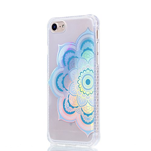 Coque iPhone 8, JIAXIUFEN TPU Coque pour Apple iPhone 7 /iPhone 8 Silicone Étui Housse Protecteur - Shiny Change Color Half Mandala Flower Design