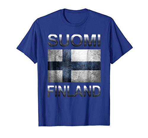 Mens FINLAND T-shirt Finnish Flag Tee Travel Gift Souvenir XL Royal Blue