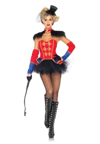 Leg Avenue Women's 4 Piece Ring Mistress Costume, Red/Black, Large (4pc Sexy Clown Costume)