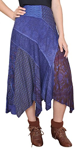 (Sacred Threads Denim Patchwork Skirt – Small Size #215750)