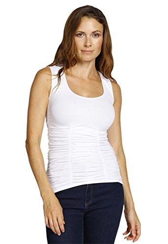 Last Tango Flattering Design Sleeveless Scoop Neck Ruched Tank Top - White (Design Sleeveless)