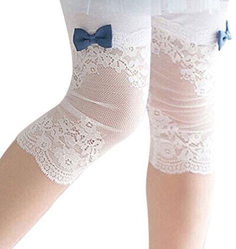 BOGIWELL Girls Cute Lace Capris Leggings Tights Summer Capri Pants White(US 10-12Y,Tag 150)
