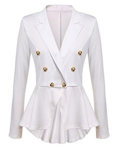 Gumod Women's Long Sleeve Solid Casual Work Office Slim One Button Short Blazer White XXL