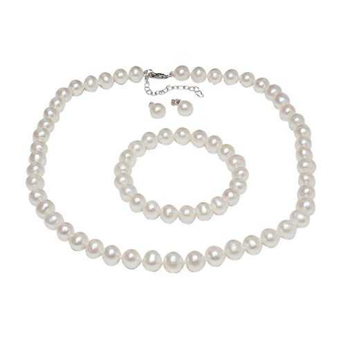 Gem Stone King 925 Sterling Silver Cultured Freshwater White Pearl Necklace Earrings Bracelet Bridal Gift Set