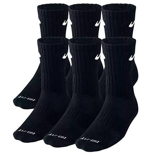NIKE Plus Cushion Socks (6-Pair) (L (Men's 8-12 / Women's 10-13), Crew Black) (Elite Socks Usa Nike)