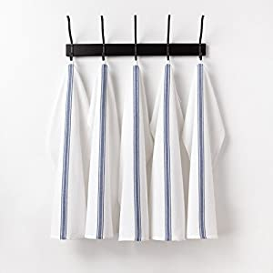 "Premium Vintage Kitchen Dish Towels with Hanging Loop • 100% Natural Cotton (15""x26"") • White with Blue Stripes • • Professional Grade Herringbone Weave • Satisfaction Guarantee (6,Blue)"