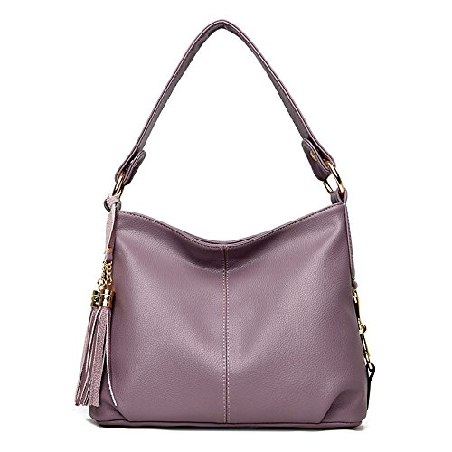 Mefly Solo Hombro Satchel Handbag Nueva Moda Borlas Hombro Única Europea Y Americana Fideos Blandos Claret Violet