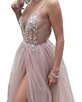 Special Occasion Dress Hot Sexy V-Neck Beaded Open Back Tulle Split Long Evening Prom Dresses