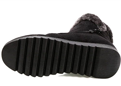 Snow Winter Flat Boots Side Lining Boots 1 Suede Black Warm Zipper Fur Cotton Mostrin Women's Ankle RxqpwE5aW