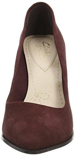 Azizi Clarks zapatos Suede Burg Poppy mujer Rojo cerrados tacón cuero de de ddqrFE