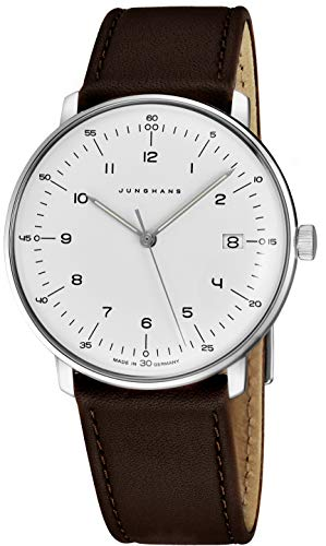Junghans Men's 'Max Bill' Quartz Stainless Steel and Leather Dress Watch, Color:Brown (Model: 041/4461.00)