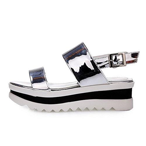 Heels Open Patent Solid Toe Kitten Sandals Silver Buckle Leather Women's AgooLar xqAY4wXA
