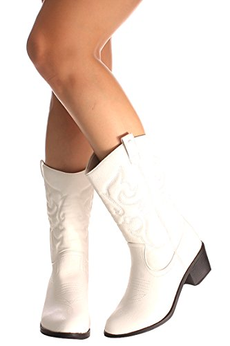 Lolli Couture Forever Link Wildleder Material Seitlicher Reißverschluss Schnalle Pelzbesatz Akzent Chunky High Heel Booties Weiß Bdw14