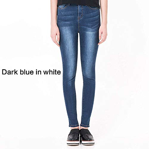 (Simply Q Jeans for Women High Waist High Elastic Plus Size Stretch Jeans Skinny Pencil Pants,Dark Blue in White,4XL)