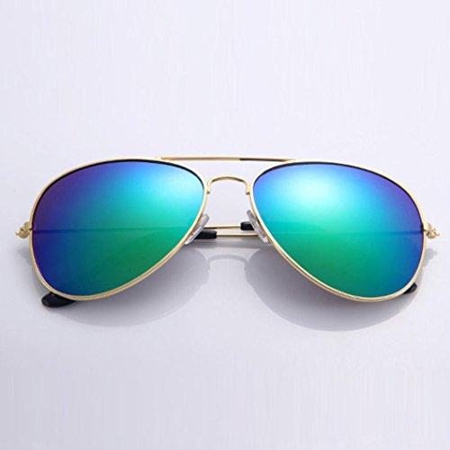 Gusspower del Aviador de Gafas Clásico Marco Oro Metal Sol Espejo de azul Lente ZgrnqZ