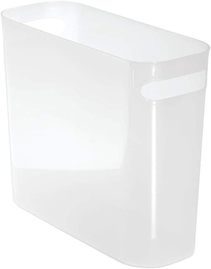blanco Contenedor de reciclaje para cocina mDesign Cubo de basura con asas Contenedor de residuos de dise/ño moderno y 5,7 litros de volumen Pl/ástico resistente ba/ño u oficina