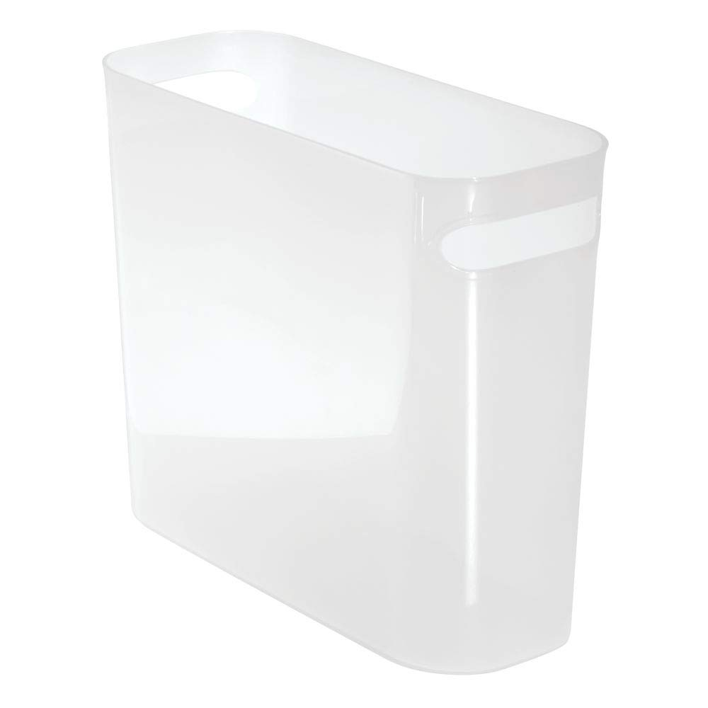 "mDesign Slim Plastic Rectangular Small Trash Can Wastebasket, Garbage Container Bin with Handles for Bathroom, Kitchen, Home Office, Dorm, Kids Room - 10"" High, Shatter-Resistant - Frost Clear"