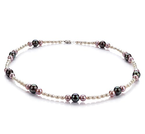 Multicolore 3-8mm A-qualité perles d'eau douce 925/1000 Argent-Collier de perles