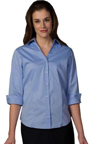Edwards Short Sleeve Blouse (Ed Garments Women's Soft Collar 3/4 Sleeve Blouse, FRENCH BLUE, Medium)