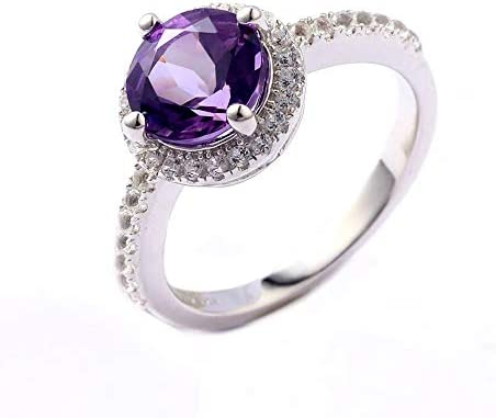 ATTA GEMS Womens Anniversary Wedding Ring Round 8mm Jewelry Birthstone Sterling Silver Promise Ring Size 6//7//8