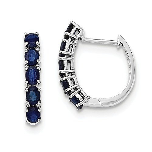 Sterling Silver Polished Sapphire Hinged Hoop Earrings by CoutureJewelers