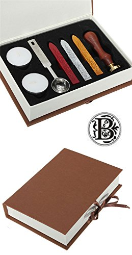 Gift Pro European Retro Wooden Alphabet Letter Initial Wax Seal Stamp Kit Vintage Letter/Envolop Wax Sealing Set with Gold Red Silver Sticks (B)