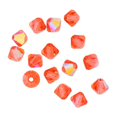 100 pcs 4mm Swarovski 5301 Crystal Bicone Beads, Padparadscha AB, SW-5301