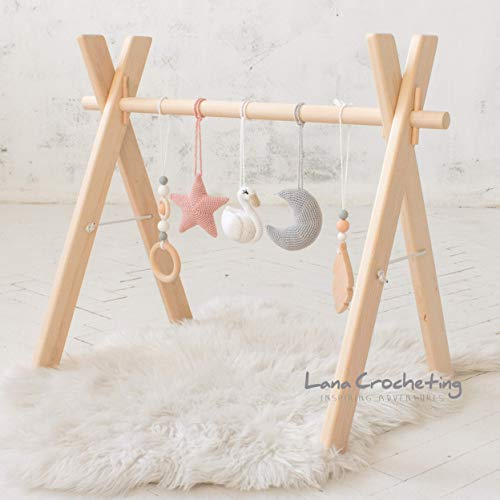 (Swan theme Artisan Wood Baby Gym frame with Five Mobiles by LanaCrocheting. Blush & Gray. Girl nursery. Infant Activity gym. Monessori Wooden Foldable Baby Play Gym, Hanging bar, natural)