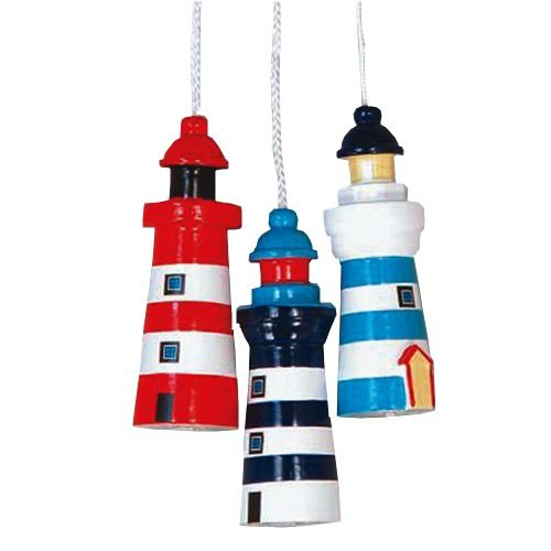 Nautical Theme Lighthouse Light Pull / Dark Blue & White by Hanah UK