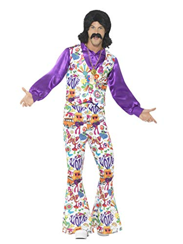 Smiffys Men's 60s Groovy Hippie Costume, Multi,