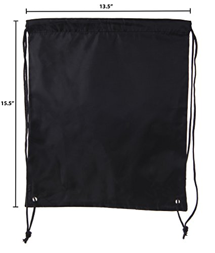 Mato & Hash Basic Drawstring Tote Cinch Sack Promotional Backpack Bag - 100PK Black CA2500 - 2 by Mato & Hash (Image #2)