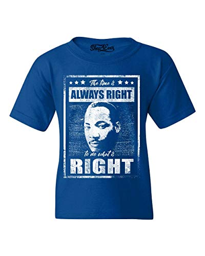 shop4ever The Time is Always Right to do What is Right Martin Luther King Jr. Youth's T-Shirt Youth X-Large Royal Blue 0
