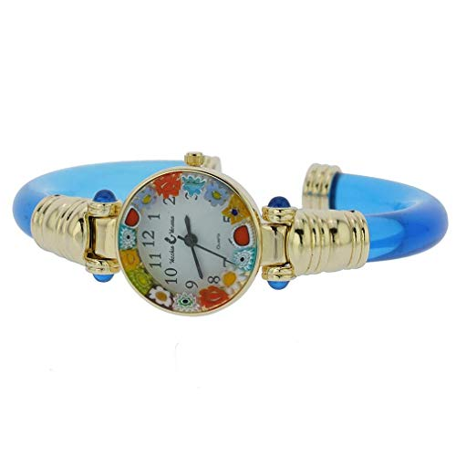 Murano Glass Millefiori Bangle Watch - Navy Blue