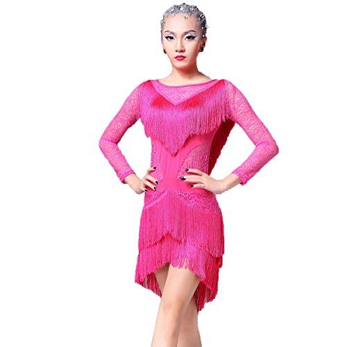 [Latin Dance Dress Tassel Women Tango Salsa Rumba Cha Cha Samba Tango Dance Performance Clothes Competition Costumes Party] (Chacha Dance Costume)