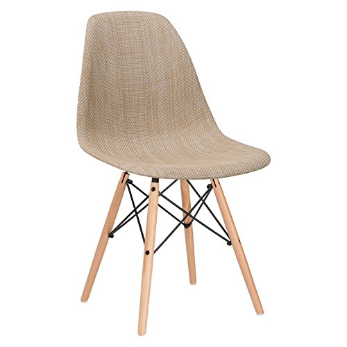 Poly and Bark Woven Vortex Dining Chair with Natural Legs, Beige