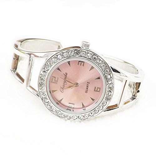 megko Fashion Women's Bangle Cuff Bracelet Analog Watch Crystal Round Dial Pink- Silver Tone