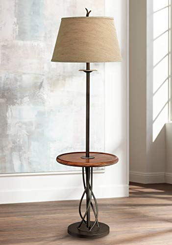 Floor Wood Lamp Tray - Rustic Floor Lamp with Table Wood Twisted Iron Base Linen Empire Shade for Living Room Reading Bedroom